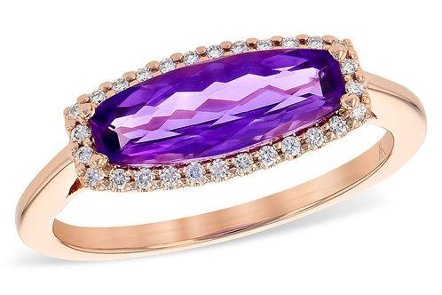 1.20ctw 1.09ct Amethyst 14k Rose Gold  Ring