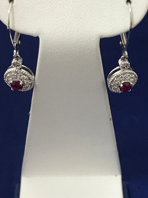0.31ctw Diamonds & Rubies 14k Gold Dangle Earrings
