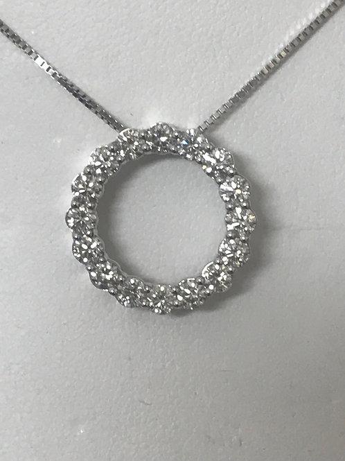 1.33ctw Diamond Accented Circular Pendant & Necklace 14k White Go
