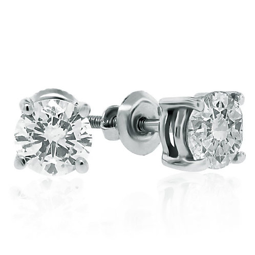 14kt White Gold 1.00cttw Round Diamond Stud Earrings