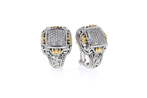 Piyaro Italian Sterling silver earrings with 3/5ct diamonds and 14K YG