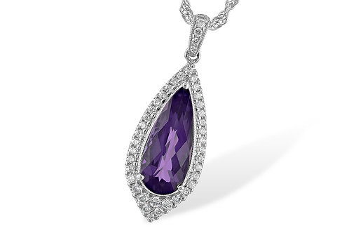 2.26ctw Diamond & Amethyst 14k Gold Pendant Necklace