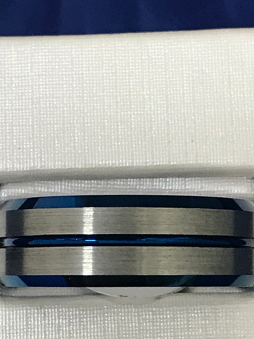 Tungsten Carbide Blue & Silver Brushed and Polished Wedding Band