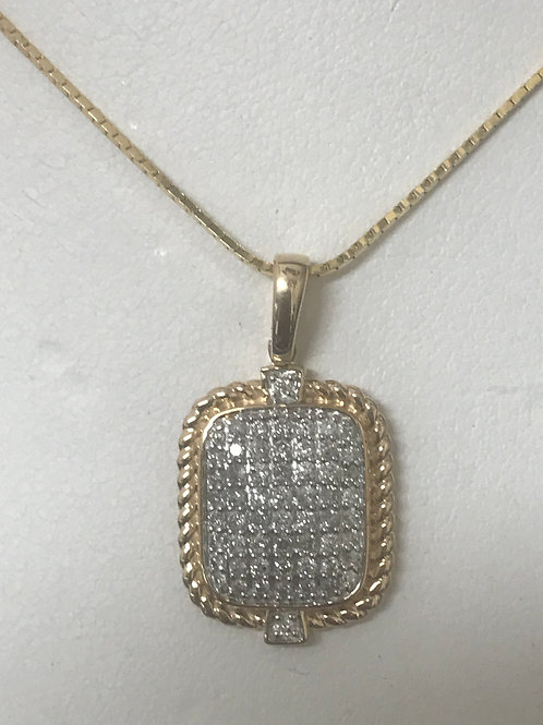 1/3ctw Diamond Accented Pendant Necklace 10k Yellow & White Gold