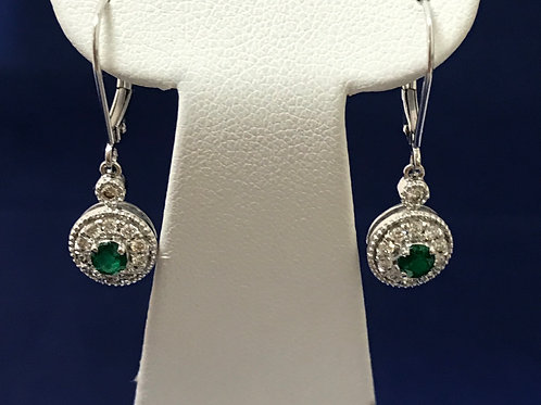 0.31ctw Diamonds & Emeralds 14k Gold Dangle Earrings