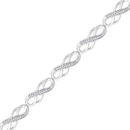 1/4cttw 10k White Gold Infinity Bracelet (0.25cttw)