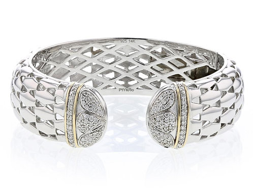 .60ctw Diamond Piyaro Italian Silver Cuff With 14k Solid Yellow Gold
