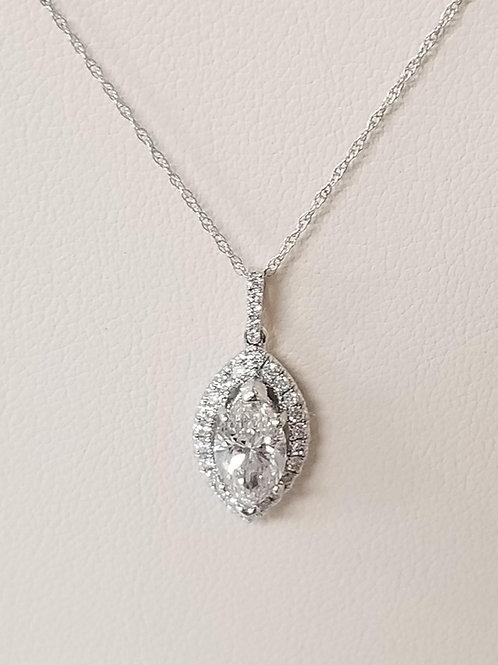 1.09cttw Marquise Diamond Pendant Necklace