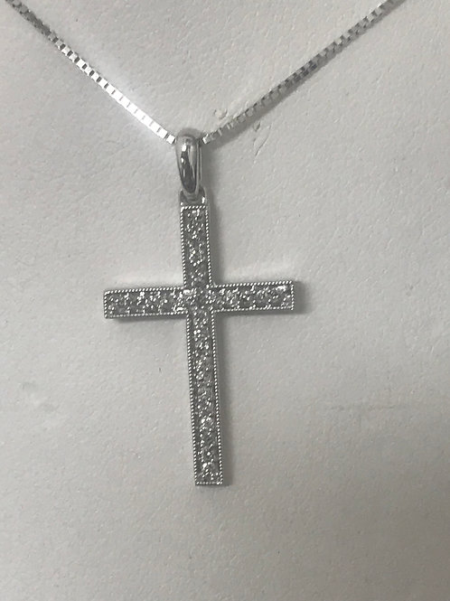 1/5ctw Diamond Accented Cross Pendant Necklace 10k Yellow & White Gold