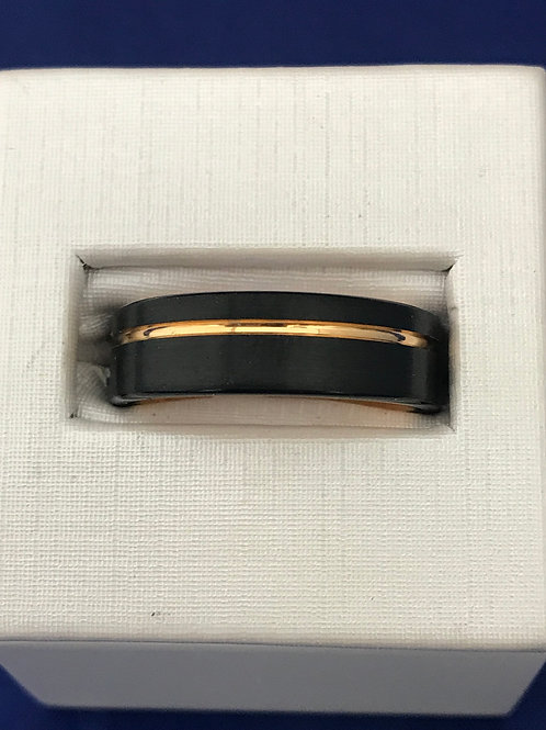 Tungsten Carbide Black & Gold Lined Polished Wedding Band