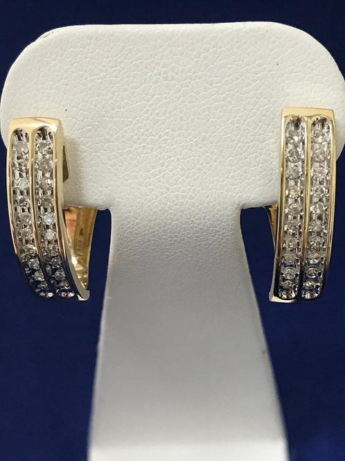 1.00ctw Channel Set Diamonds 14k Gold Earrings