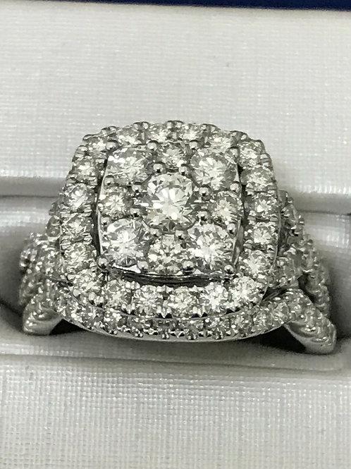 2.00ctw Prong Set Cluster Diamond 14k Gold Engagement Ring & Band Set