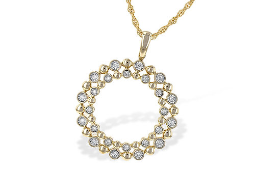 0.12ctw Yellow Diamonds 14k Yellow Gold Pendant Necklace