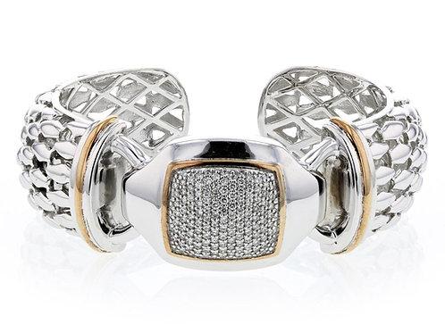 1.11ctw Diamond Piyaro Italian Silver Cuff With 14k Solid Yellow Gold Ac