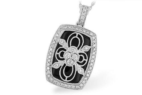 0.38ctw Diamond & Black Onyx 14k White Gold Pendant Necklace