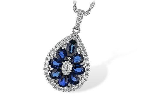 1.87ctw 1.58ctw Sapphire 14k White Gold Pendant Necklace