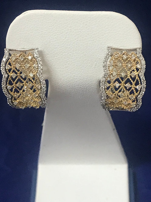 10kt Two-Tone Gold Diamond & Milgrain Filigree Hoop Earrings