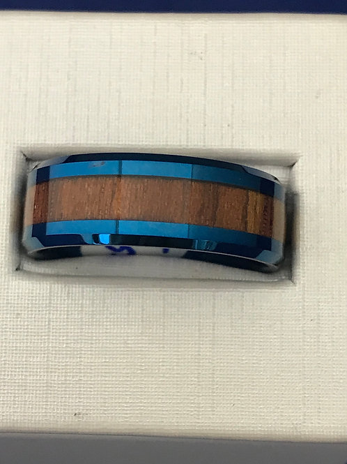 Tungsten Carbide Blue Polished & Wood Accented Wedding Band