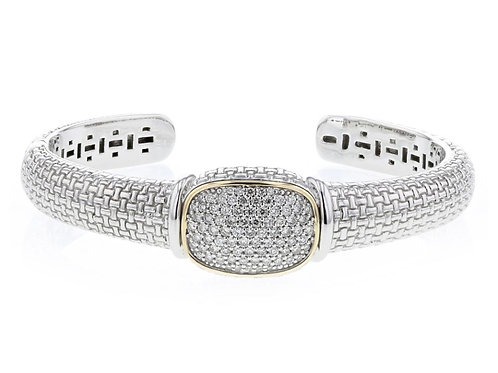 1.11ctw Diamond Piyaro Italian Silver Cuff With 14k Solid Yellow Gold Accents