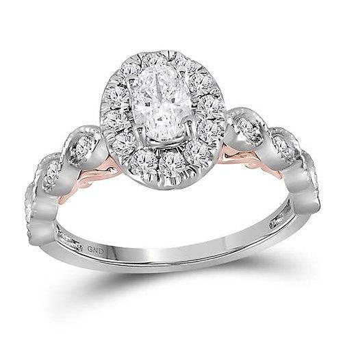 14kt White & Rose Gold 3/4cttw Round Diamond Bridal Wedding Engagement Ring
