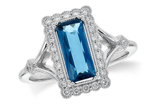 1.75ctw 1.58ct London Blue Topaz 14k White Gold  Ring