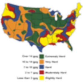 US Map of Hard Water Areas