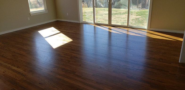 Red Oak 2 1/4 inch Installed Stained Antique Brown