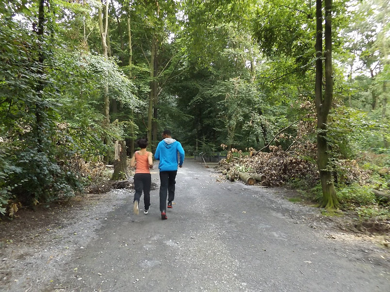 cardio training in the woods