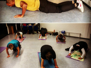 Push ups with the ladies 45+ you go girls!
