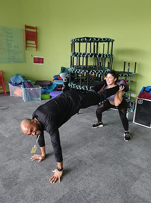 Adina and Patrick Cole during a bootcamp session