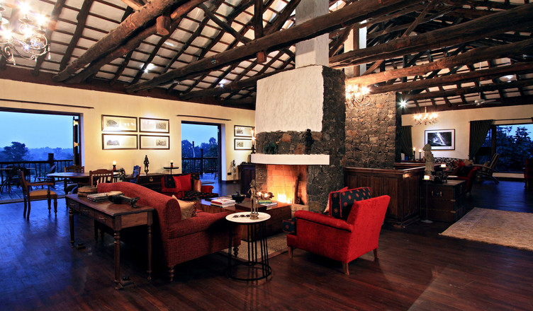 The main hall of our Bandhavgarh lodge, India