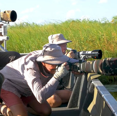 The photographers get ready for a crossing of the African Elephants!