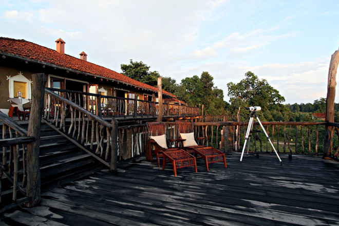 Back of the lodge with plenty of space for animal sitings, Bandhavgarh, India