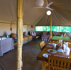 Relax and fine dine in the bush camp surrounded by the wildlife of Africa.