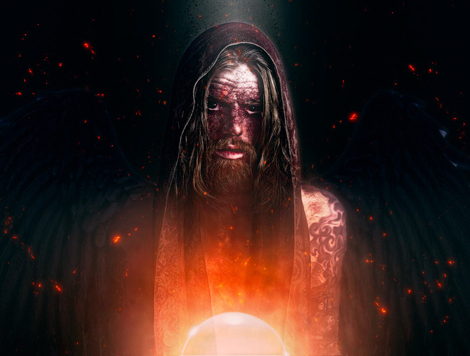 A evil and sick looking fallen angel sits surrounded by embers in this supernatural portrait image created by Dillon Vance