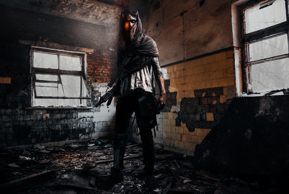 A composite photo created by Dillon Vance post-apoclayptic image of a man with radioactive mutations holding a machine gun