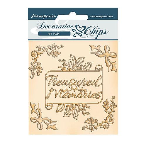 PRE ORDER Stamperia - Romantic - Christmas - Treasured Memories-Decorative Chips