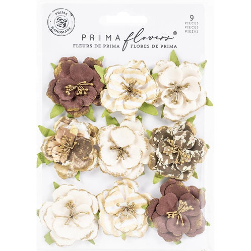 Prima - Golden Desert - Cholla - Mulberry Paper Flowers - 9 Pieces