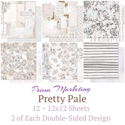 Prima - Pretty Pale - 12 -12x12 Sheets - 2 of Each Double-Sided Design