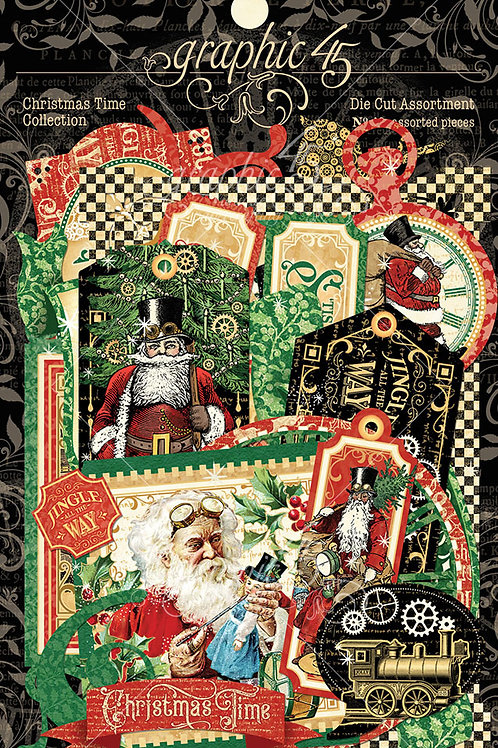 Graphic 45-Christmas Time Die Cut Assortment-48 Pieces