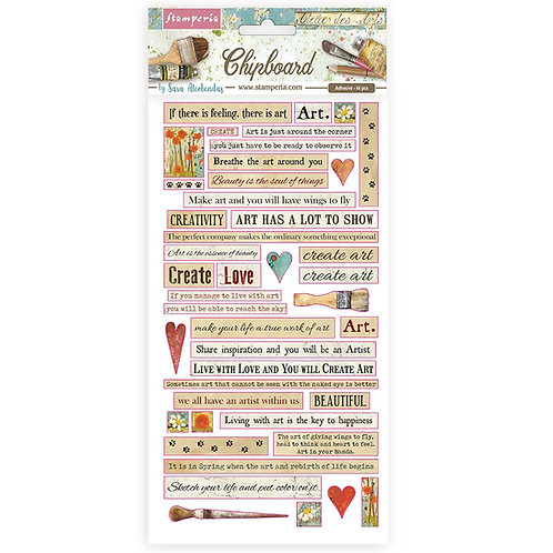 PRE ORDER - Stamperia - Atelier Des Arts - Quotes - Adhesive Chipboard