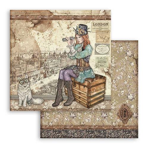 Stamperia-Lady Vagabond & Cat - 2 - 12x12 Single Sheets