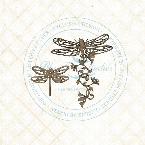Blue Fern Studios - Bird Waltz - Chipboard - Dragonfly Blossoms