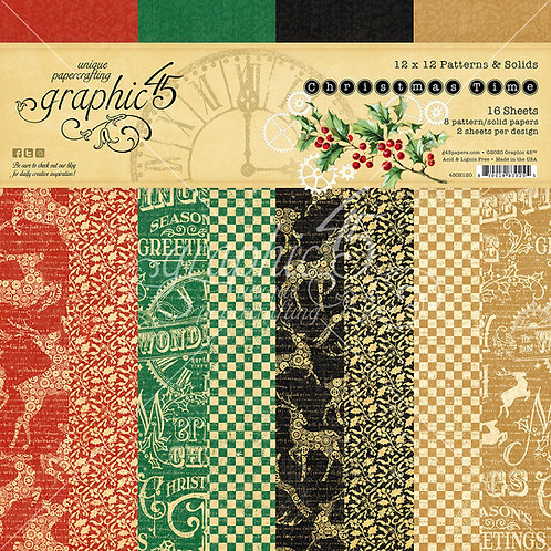 Graphic 45-Christmas Time-Patterns & Solids-12x12 Paper Pad