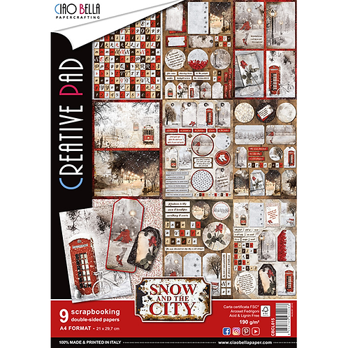 Snow and the City by Ciao Bella-9 Double-Sided Papers in the A4 Format-CBCL015