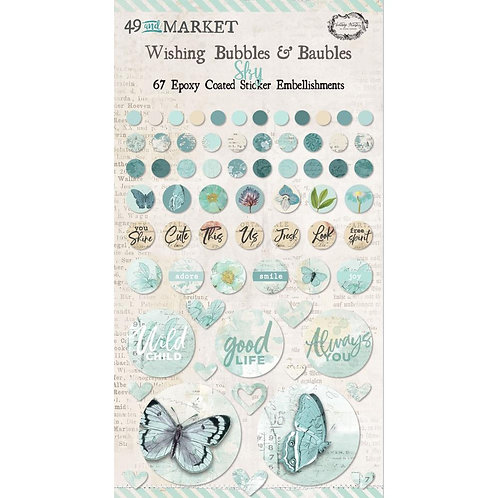 49 And Market Epoxy Coated Wishing Bubbles & Baubles 67/Pkg - Sky