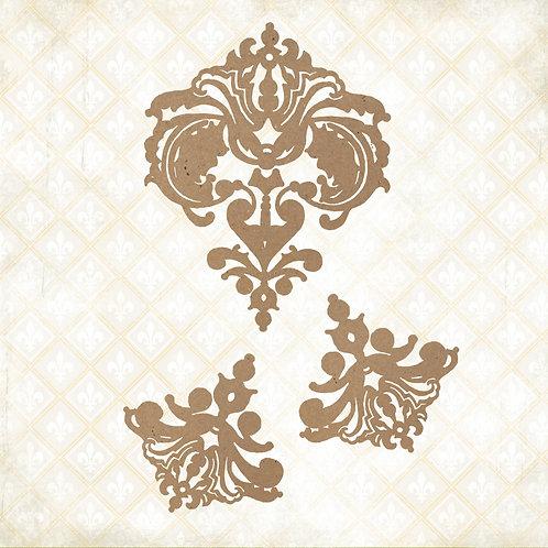 Blue Fern - Jane's Memoirs - Chipboard - Fanciful Linen - 3 Pieces