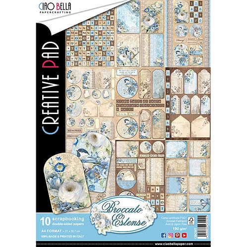 Broccato Estense by Ciao Bella-9 Double-Side Papers in the A4 Format-CBCL007