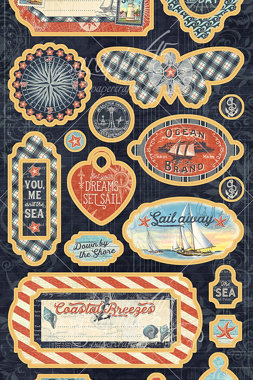 Graphic 45-Catch of the Day-Decorative Chipboard