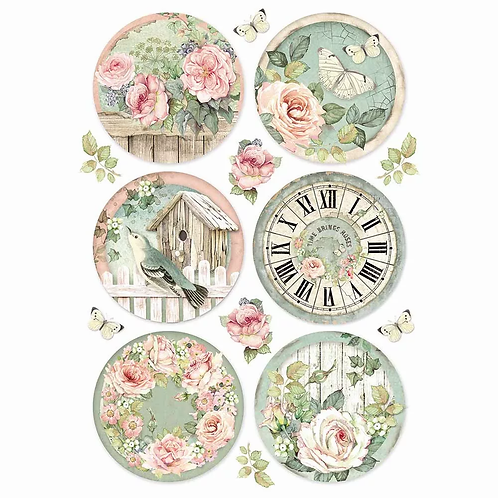 Stamperia -House of Roses Rounds - Rice Paper A4-Item #DFSA4447
